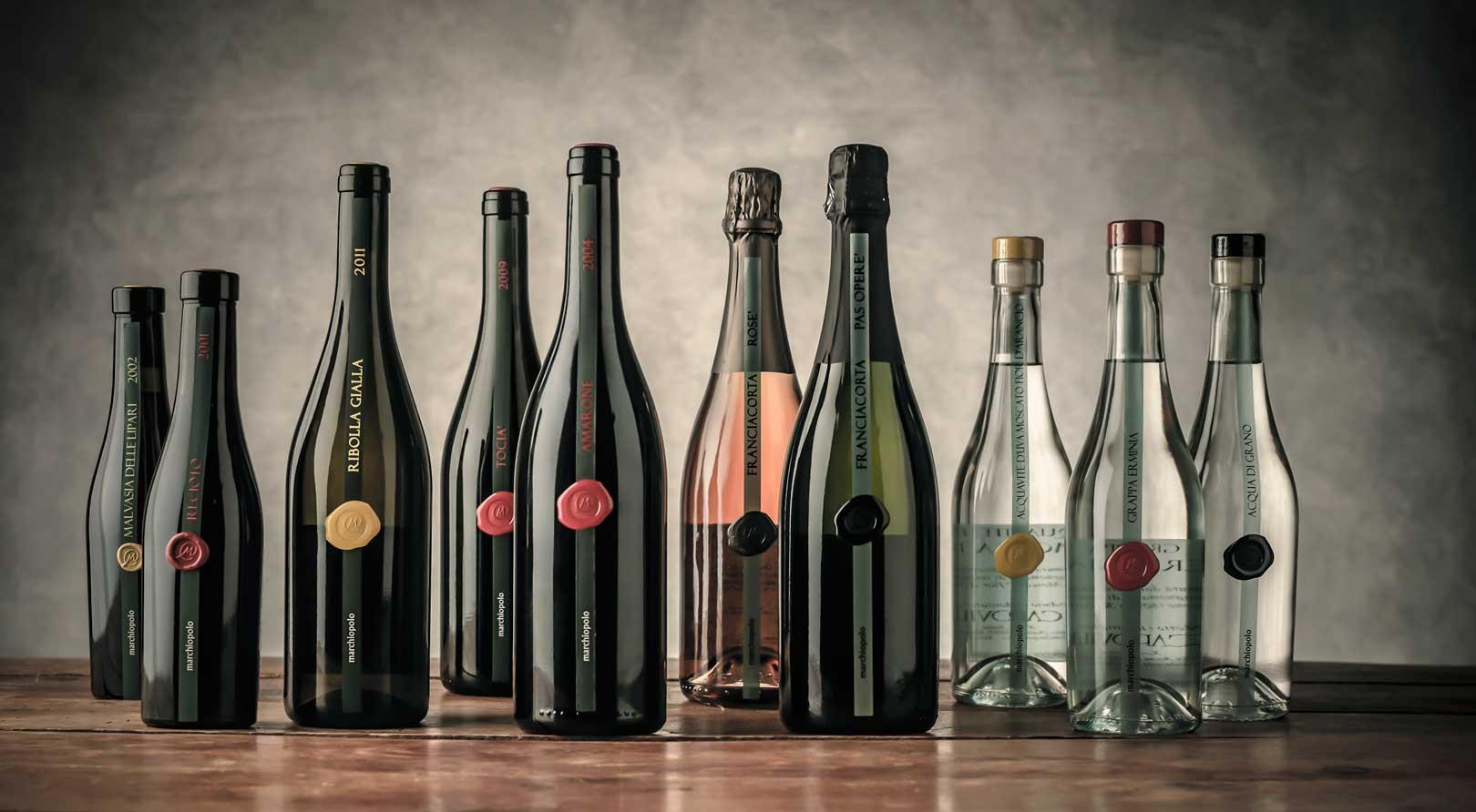 Selezione di bottiglie Marchiopolo