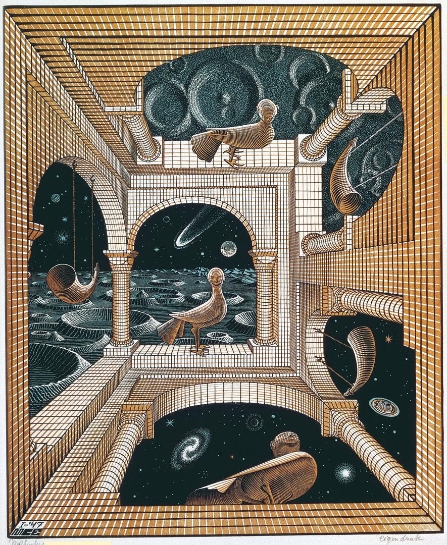 Maurits Cornelis Escher Altro mondo II Gennaio 1947 Xilografia a tre blocchi, 31,8x26,1 cm Collezione Giudiceandrea Federico All M.C. Escher works © 2016 The M.C. Escher Company. All rights reserved