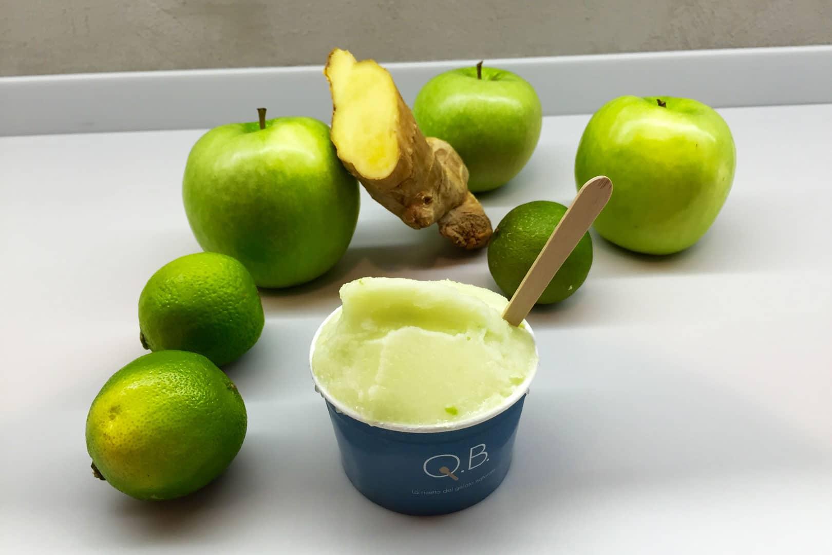 Q.B. Gelato - gusto zenzero, mela verde e lime