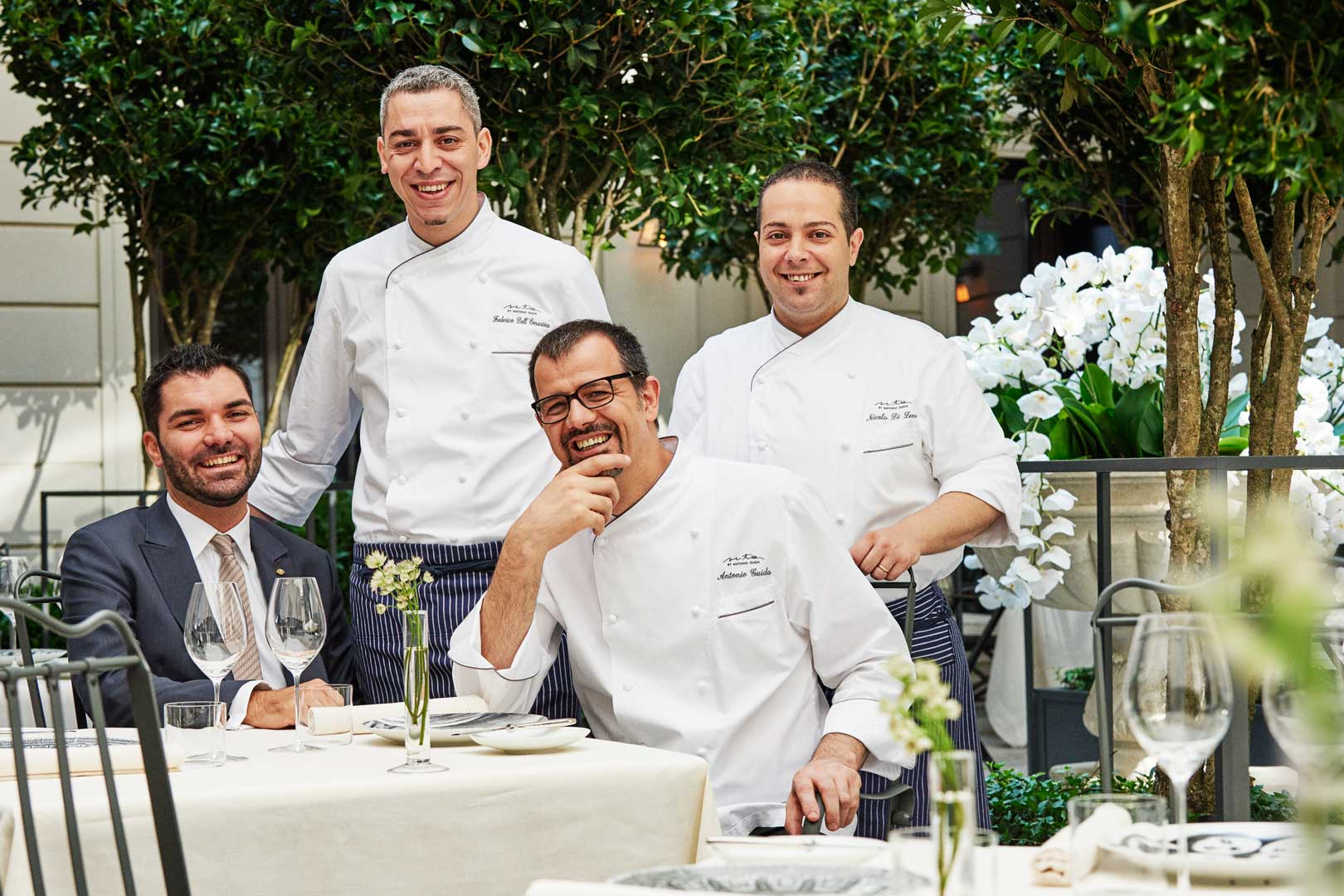 Executive Chef Antonio Guida, Executive Sous Chef Dellomarino, Pastry Chef Di Lena, Restaurant Manager Tasinato