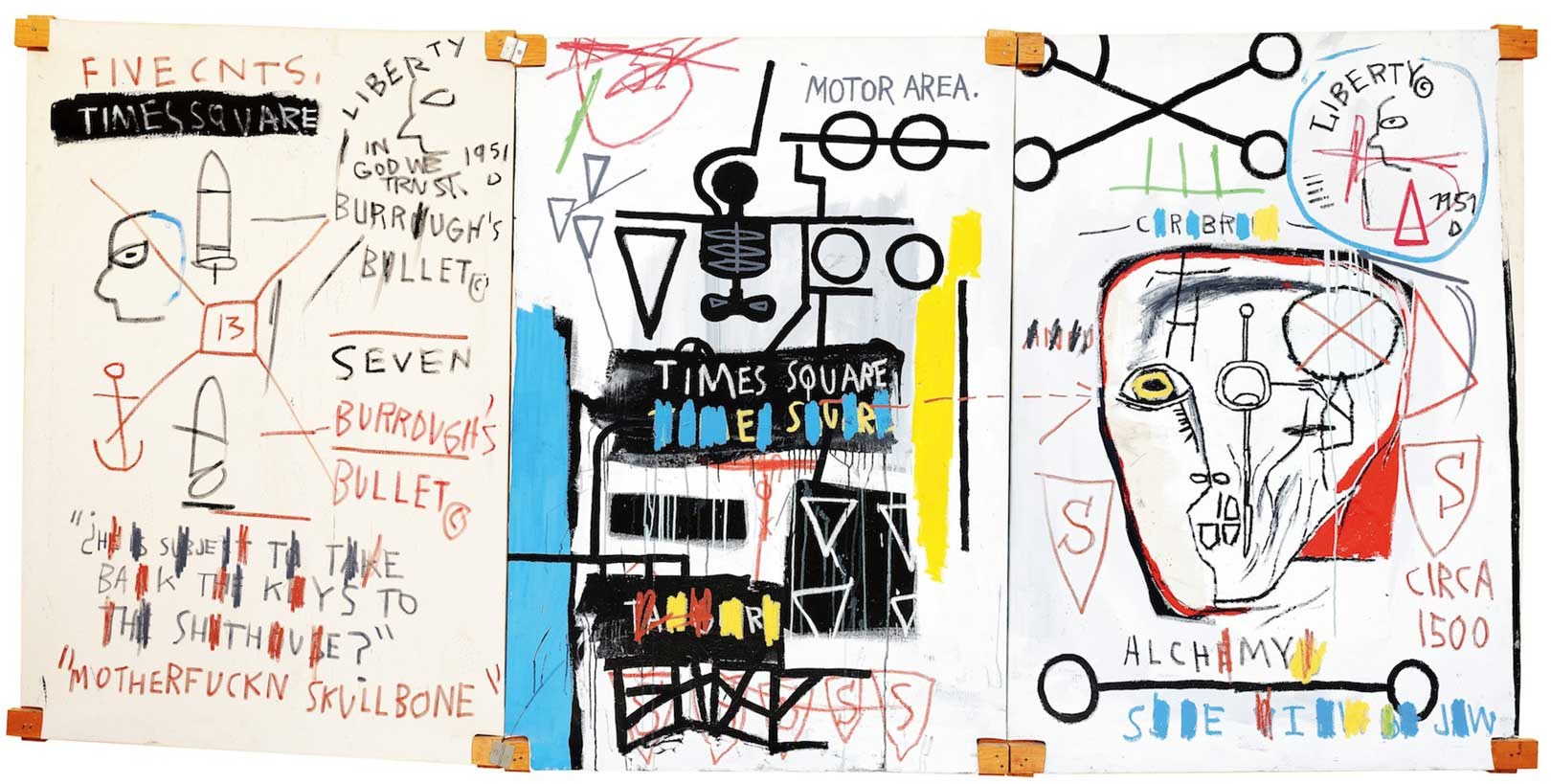 Five Fish Species, 1983 Acrylic and oil stick on canvas mounted on wood supports – three panels, 169,8x356,8 cm © The Estate of Jean-Michel Basquiat by SIAE 2016