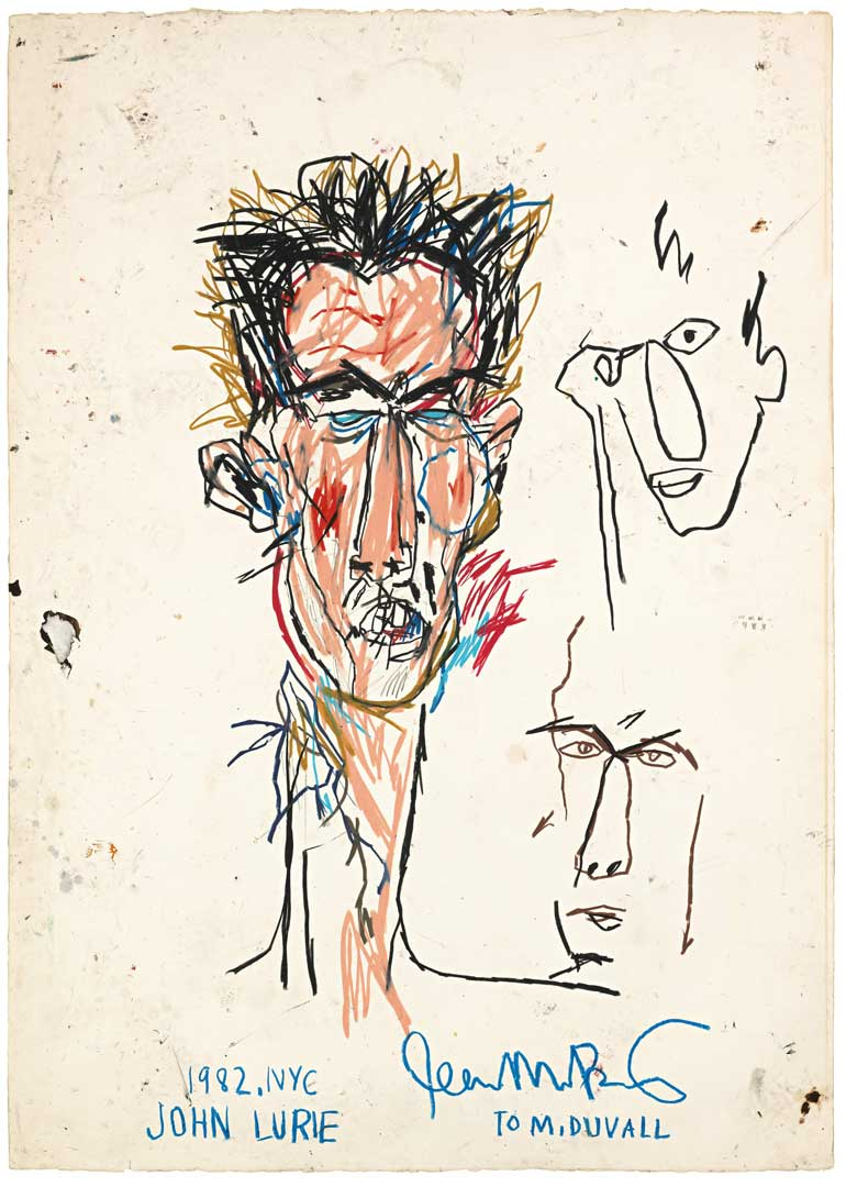 John Lurie, 1982 Oil stick on paper, 108,5x76,5 cm Private collection © The Estate of Jean-Michel Basquiat by SIAE 2016
