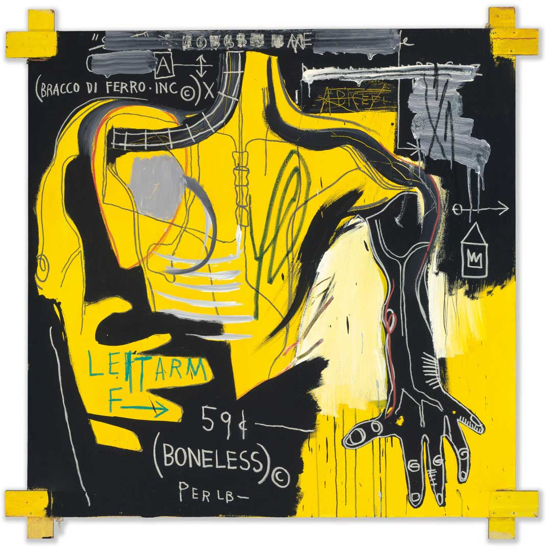 Untitled (Bracco di Ferro), 1983 Acrylic and oil stick on canvas with wood supports, 182,8x182,8 cm Private collection © The Estate of Jean-Michel Basquiat by SIAE 2016
