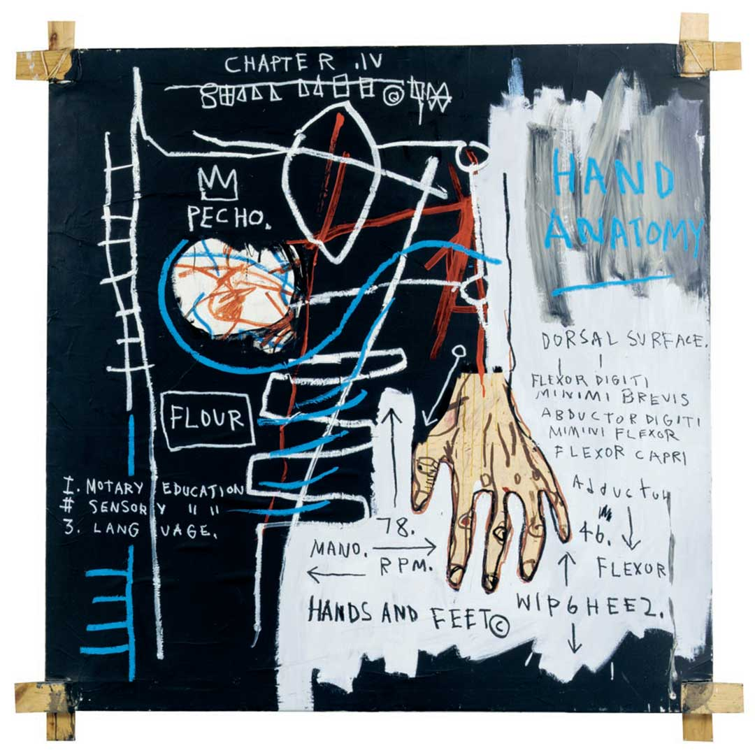 Untitled (Hand Anatomy), 1982 Acrylic, oil, oil stick and paper collage on canvas with tied wood supports, 152,5x152,5 cm Private collection © The Estate of Jean-Michel Basquiat by SIAE 2016