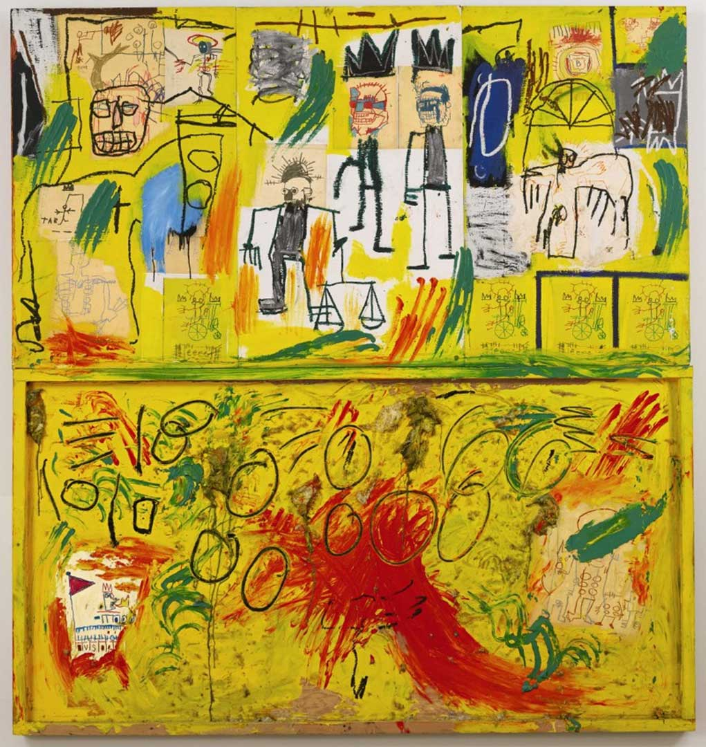 Untitled (Yellow Tar and Feathers), 1982 Acrylic, oil stick, crayon, paper collage and feathers on joined wood panels, 245x229,2 cm Private collection © The Estate of Jean-Michel Basquiat by SIAE 2016